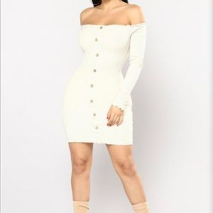 Fashion Nova Jacklyn Off Shoulder Dress | Oatmeal